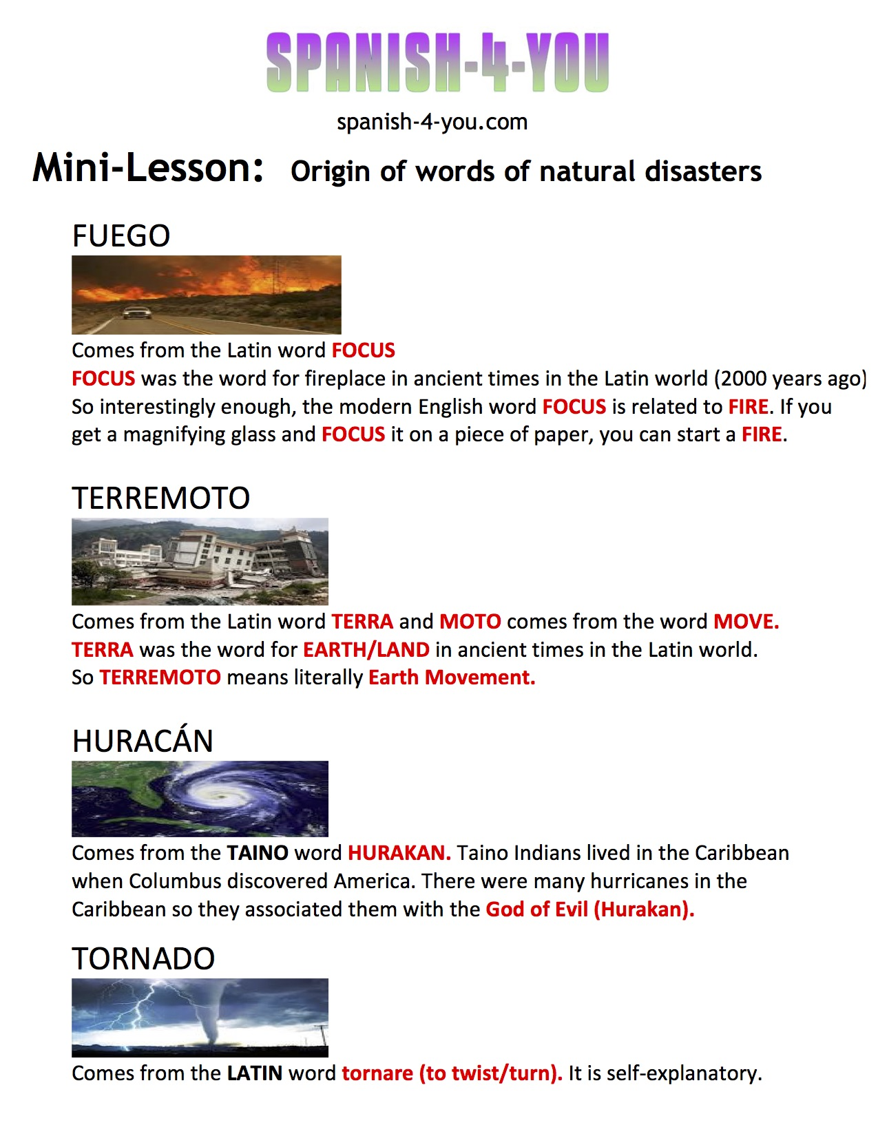 Spanish 4 You Blog: Spanish-4-You free mini-lesson: Natural Disasters